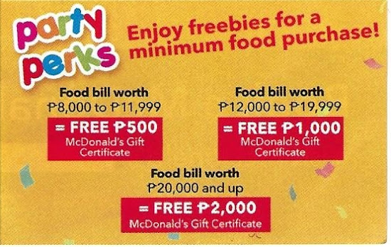 McDo Party perks 2018