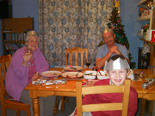 xmas lunch tree crackers empty plates cranberry jelly drunk grandma