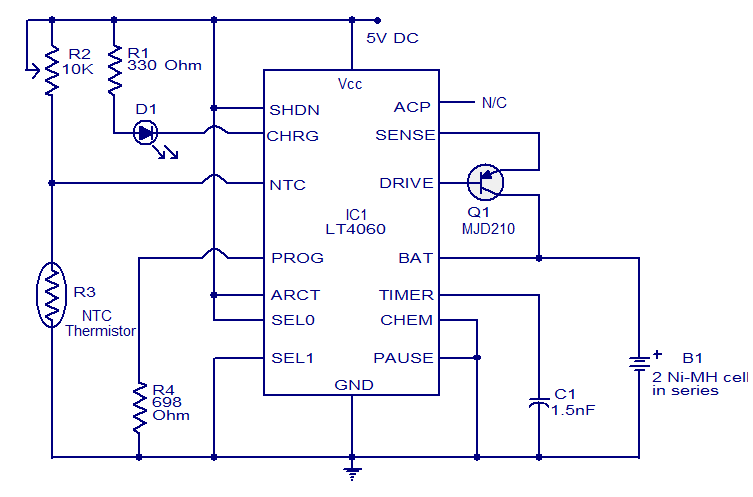 Nimh Battery Charger Using Lt4060 Electronic Circuits And Diagram
