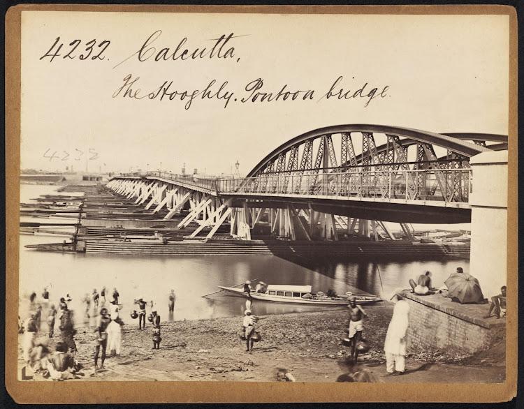 Pontoon bridge on Hooghly River Calcutta ( Kolkata ) - Mid 19th Century