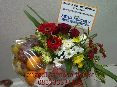 rangkaian bunga dan buah untuk ucapan semoga lekas sembuh