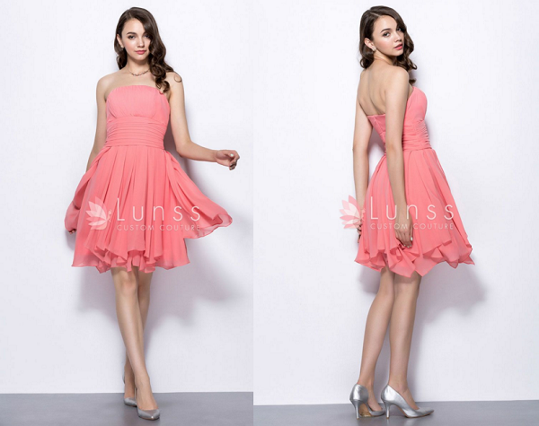 chiffon simple short bridesmaid dress