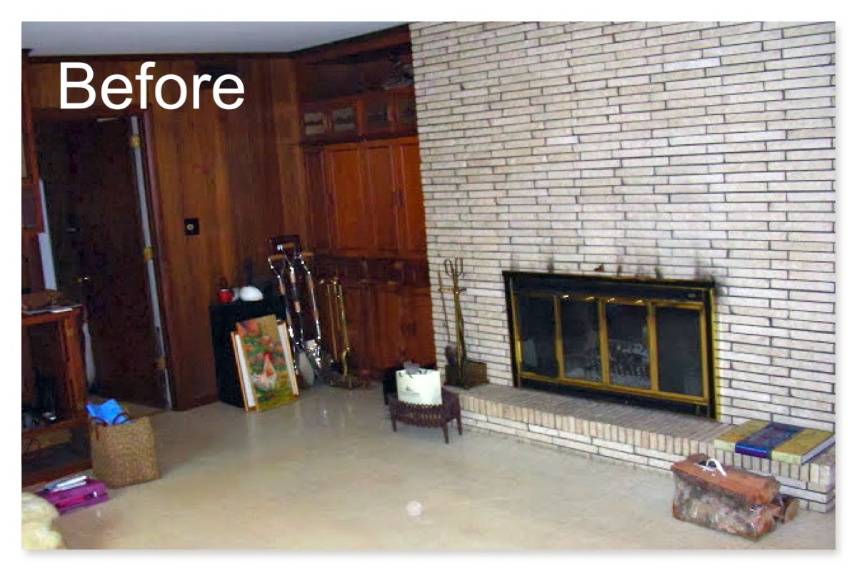 Gorgeous shiny things my fireplace mantle makeover - Floor to ceiling brick fireplace makeover ...