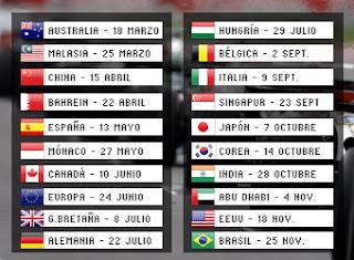 Calendario oficial para la Formula 1 en el 2012 ( F1 )