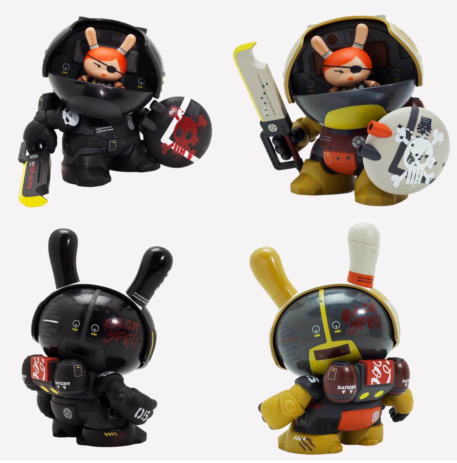 Penelope McStompsalot 8 Inch Dunny Vinyl Figures by Huck Gee - Black & Green Colorways