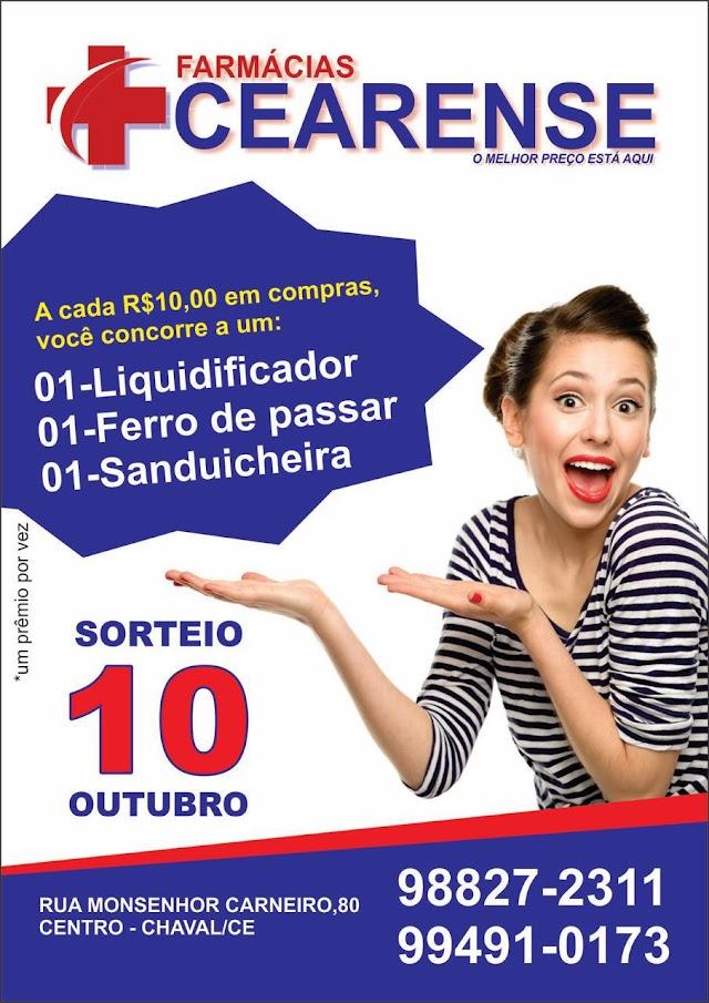 Farmácias Cearense irá sortear prêmios para seus clientes dia 10 de outubro