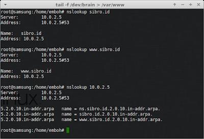 cek juga dengan nslookup pada client, jika berhasil akan tampil gambar dibawah ini