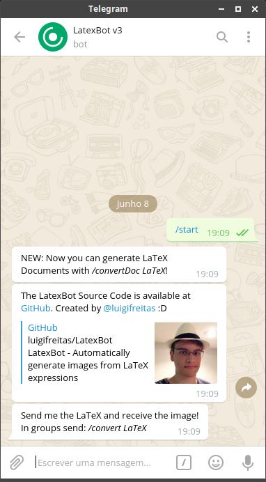 Executando o bot @latexbot v3