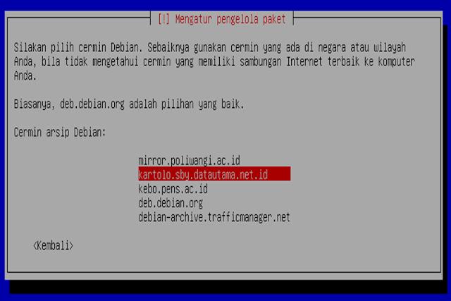 Instalasi Debian - Mengatur lokasi pengolahan paket yang ada di Indonesia