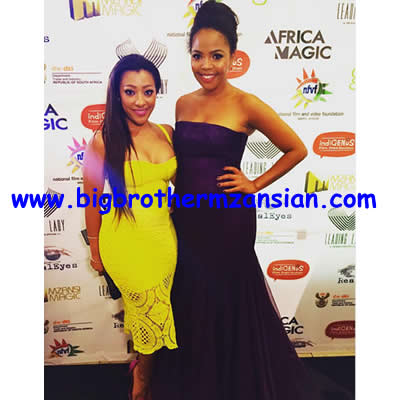 Mbali Nkosi with terry pheto At Ayanda Movie Premiere