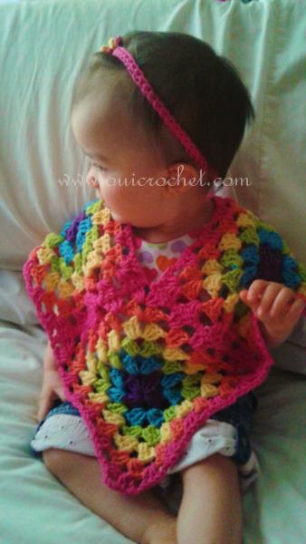 Crochet, Free Crochet Pattern, Crochet Baby Poncho, Granny Square Poncho,