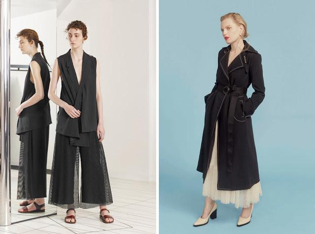 Черные брюки и белая юбка из сетки