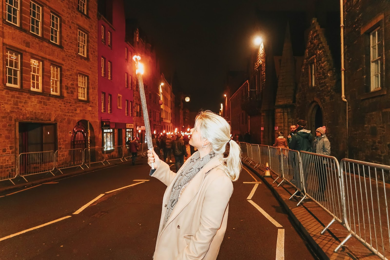 whitney with torch at edinburgh torchlight procession