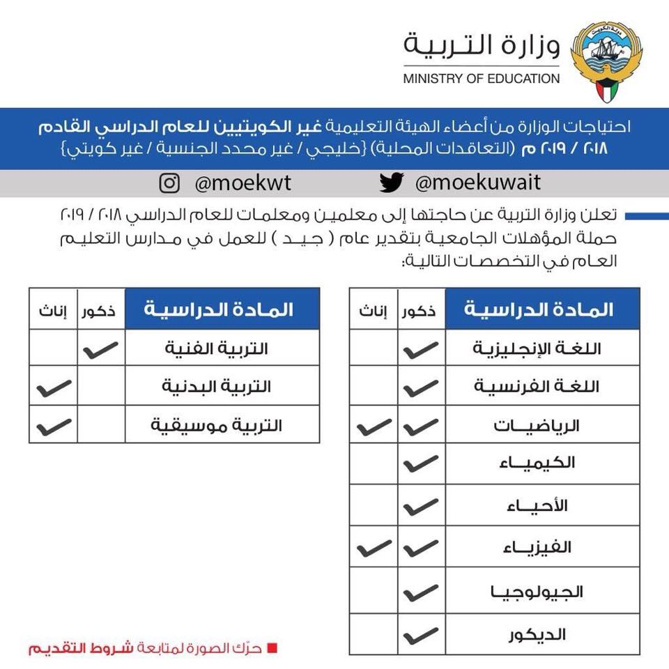 """إعلان وظائف وزارة التربية والتعليم بالكويت 2018/2019 """" معلمين ومعلمات """" جميع التخصصات - للتقديم هنــــا"""