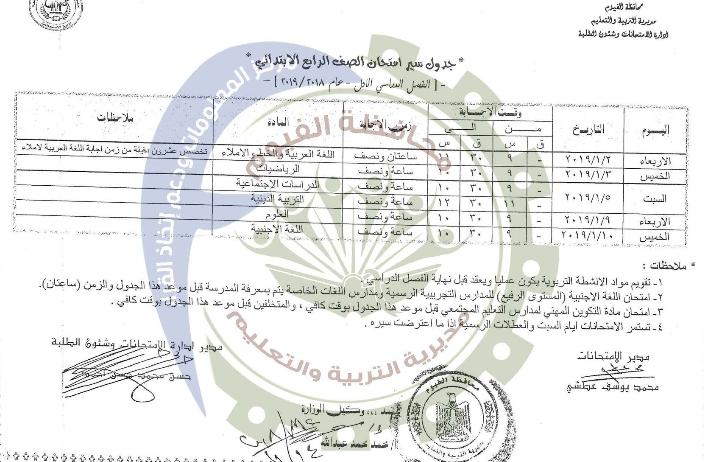 جدول امتحانات الصف الرابع الإبتدائي الترم الأول 2019 محافظة الفيوم