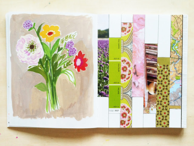gouache painting, sketchbooks, 2x2 Sketchbook, Dana Barbieri, Anne Butera, paper patchwork, collage