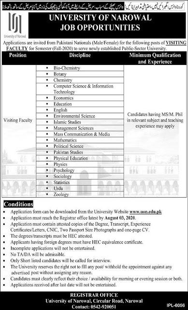 university-of-narowal-jobs-2020-application-form