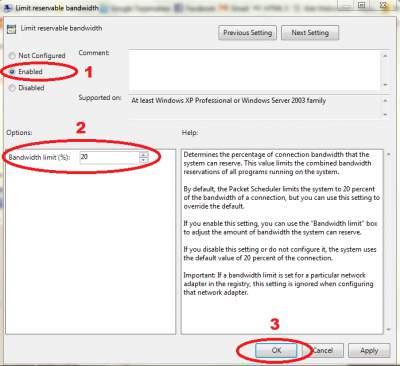 Mengganti Limit Reservable Bandwith 20% dengan 0%
