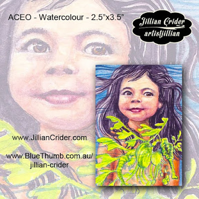 watercolour painting mermaid little girl with leafy sea dragon miniature art ACEO