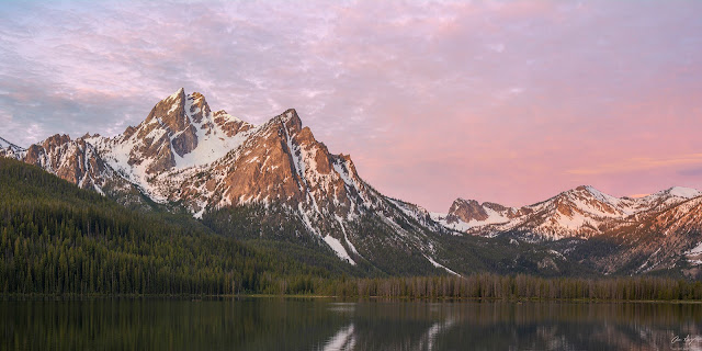 Mt. Mount McGown Peak at sunrise in the Sawtooth Wilderness, Idaho.  Mountain photography by Aaron Spong
