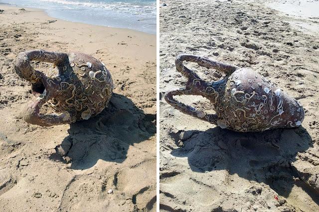 Byzantine amphora found by swimmer at Cretan beach