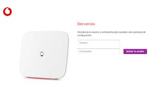 Pagina inicio sesión router Vodafone