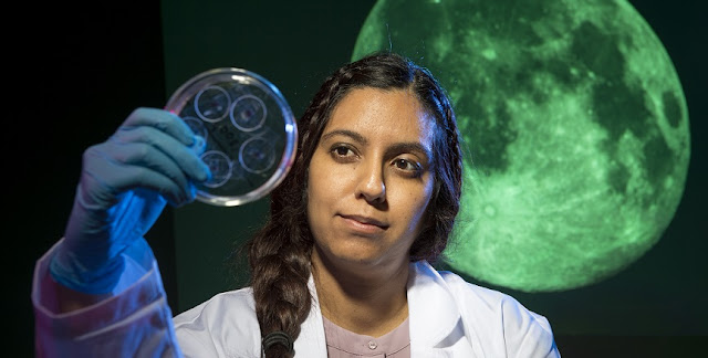 Sonia Tikoo, an assistant professor in Rutgers-New Brunswick's Department of Earth and Planetary Sciences, looks at moon rock samples in a Petri dish. Credit: Nick Romanenko/Rutgers University