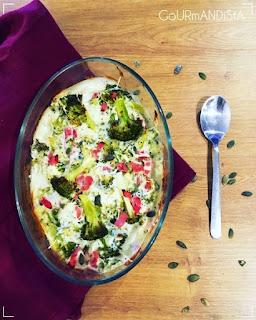 images Gratin de brocolis, jambon blanc et béchamel au bleu
