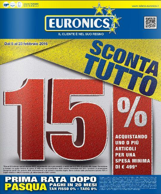 Nuovo Volantino Euronics gruppo Tufano 5 Febbraio a 23 Febbraio 2016 - Offerte e promozioni