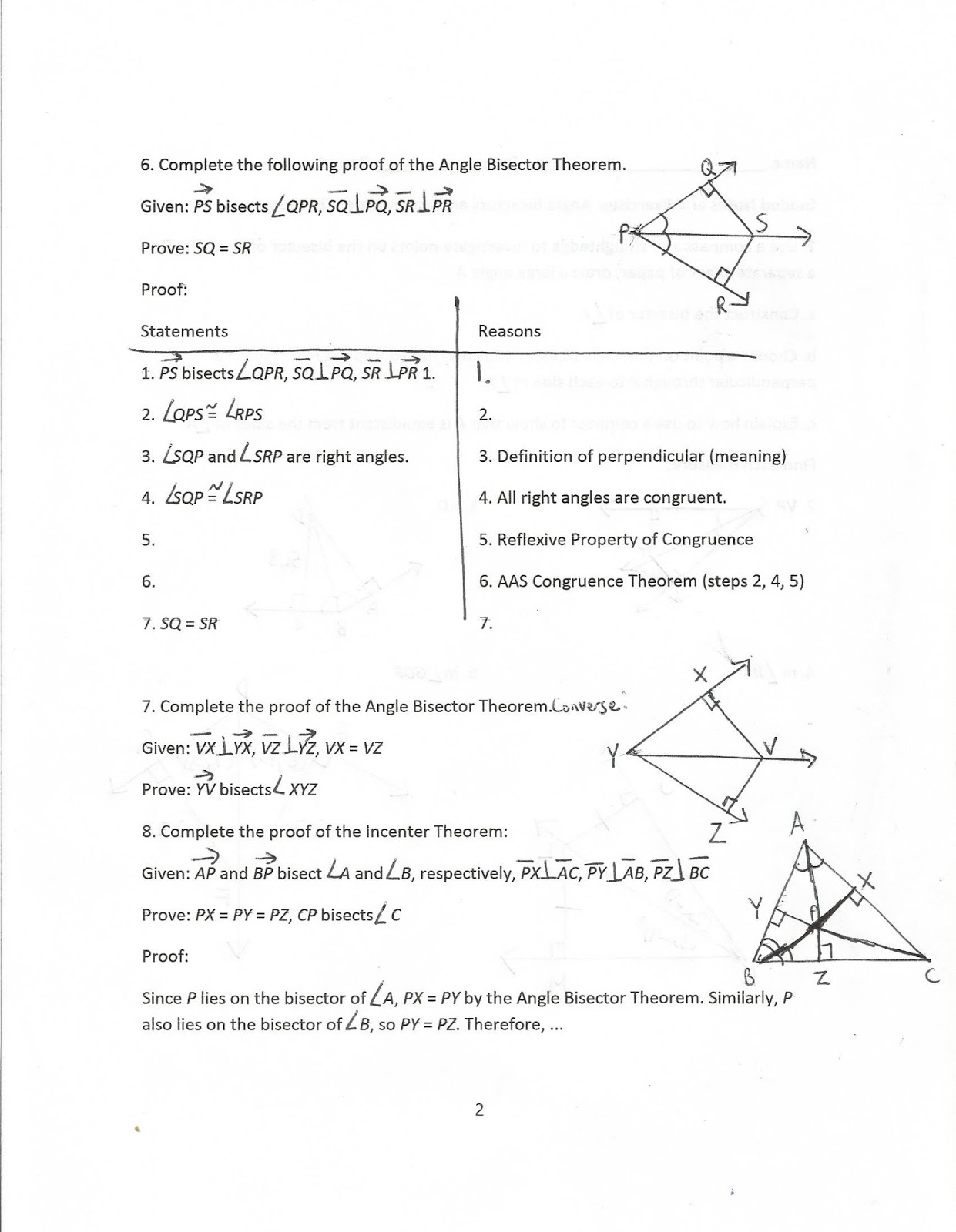 Geometry Common Core Style Incenter Concurrency Theorem