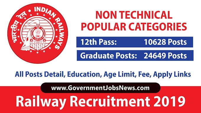Railway Recruitment 2019 Non-Technical Popular Categories NTPC 35277 Jobs Apply Online