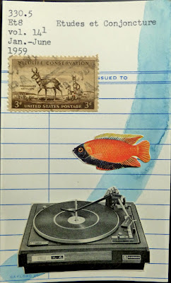turntable tropical fish postage stamp library card Dada Fluxus mail art collage