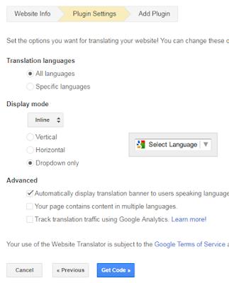 Cara Membuat Widget Tombol Translate Untuk Blog