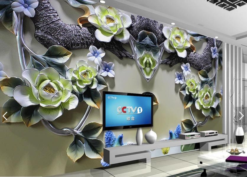Tranh dán tường 3d hoa mẫu đơn ngọc bích
