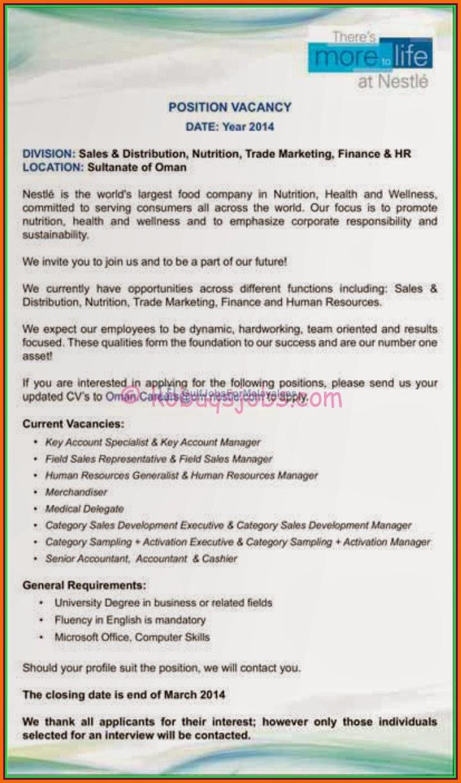 Nestle Oman Job Vacancies - Gulf Jobs for Malayalees