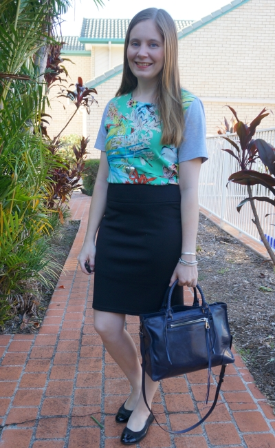 botanical print tee dress for the office layered under black pencil skirt | awayfromblue