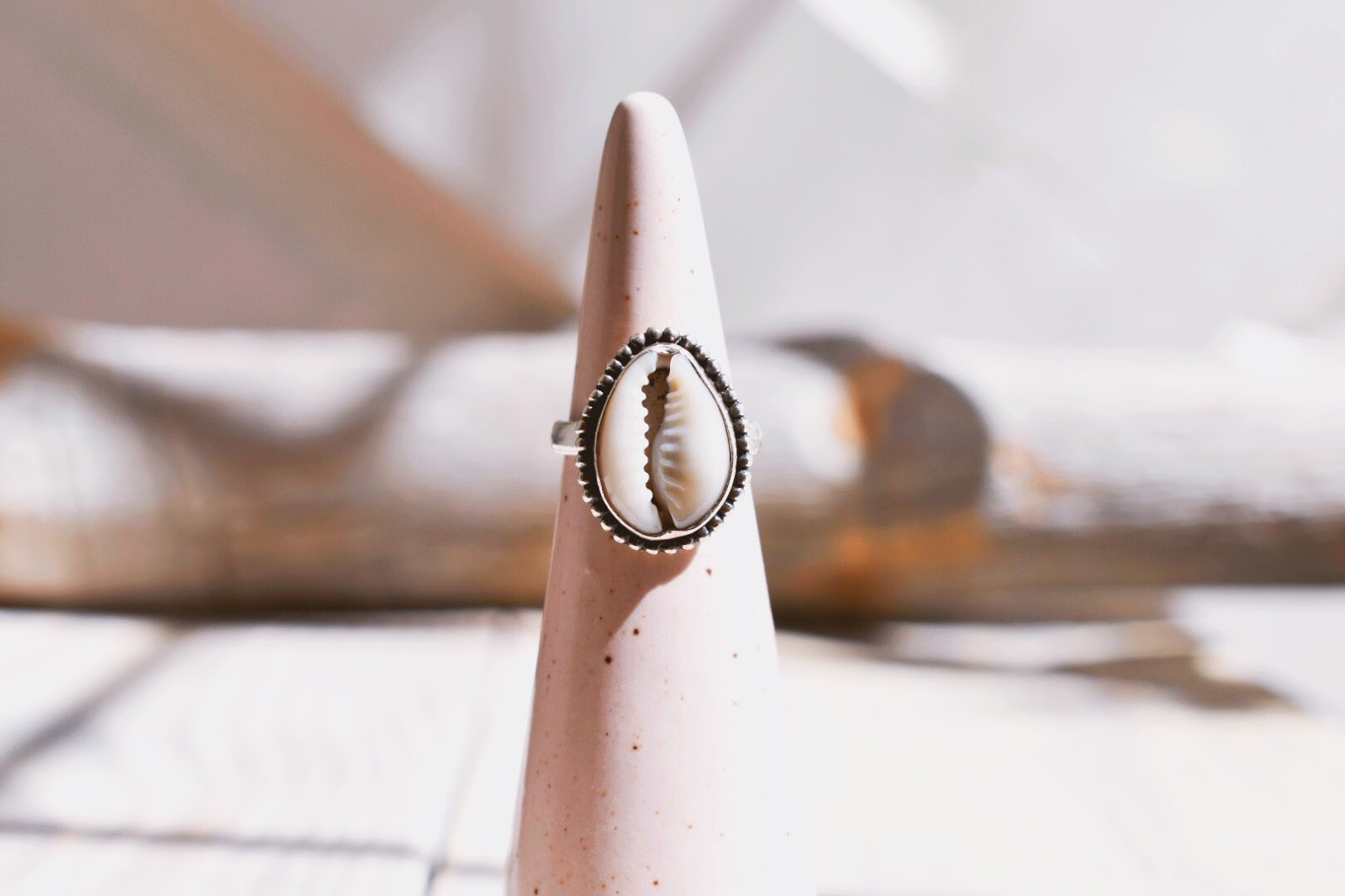 Natural Cowrie Shell Ring