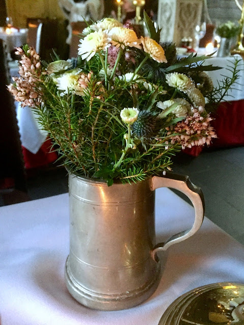 Flower arrangements for afternoon tea in The Witchery by the Castle, Edinburgh