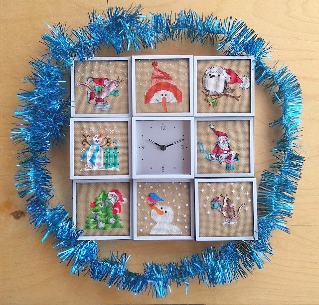вышитые часы с новогодними миниатюрами