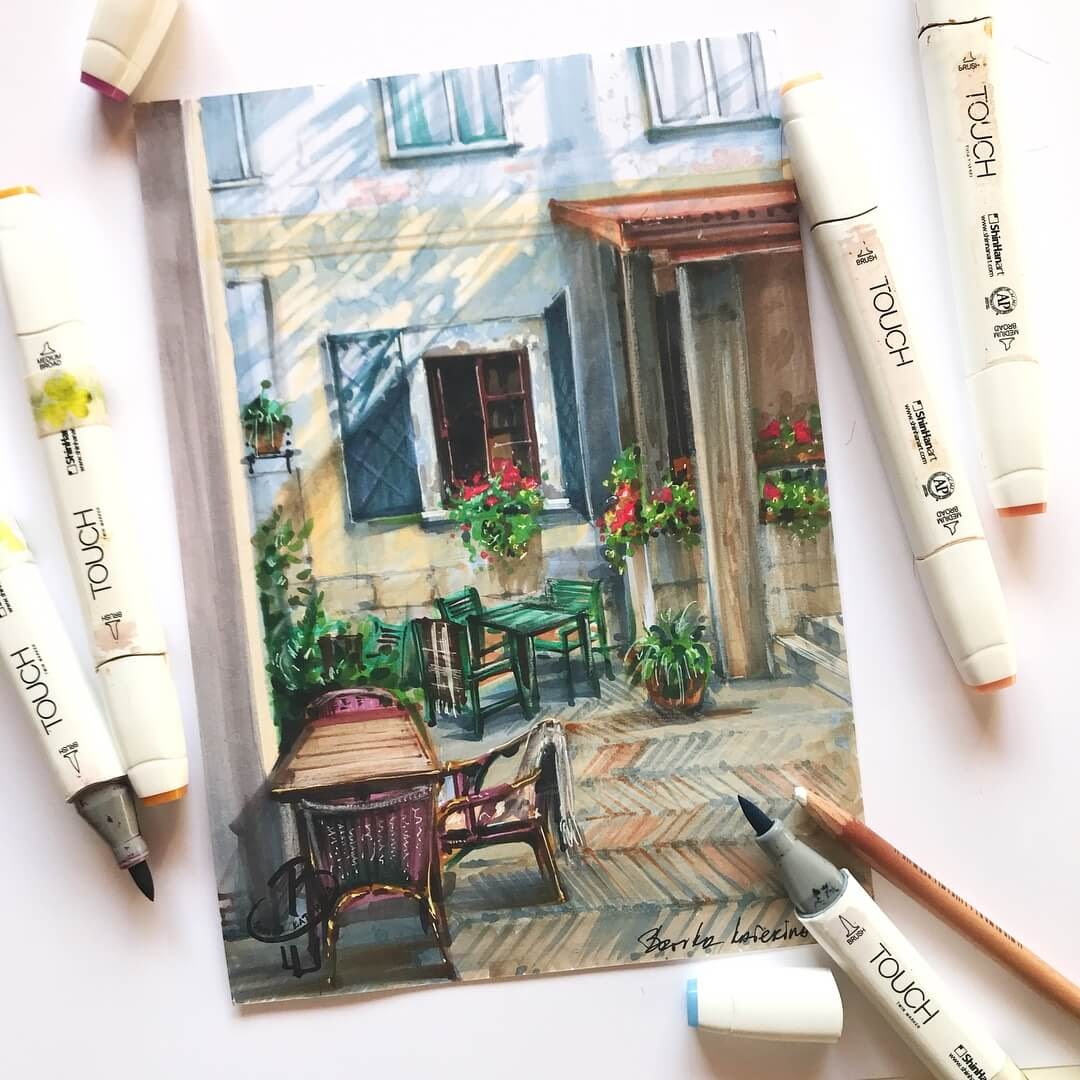 10-Quaint-internal-Courtyard-Katerina-Brovka-Architecture-in-Bright-Color-Drawings-www-designstack-co
