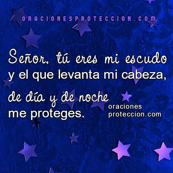 Frases con oraciones de protección en la noche, gracias Dios por protegerme, cuidarnos en la oscuridad al dormir noche por Mery Bracho