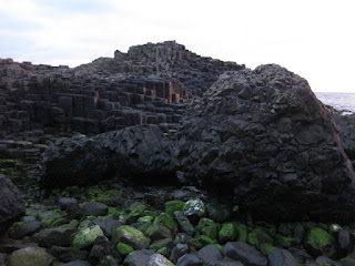 Rocky coastline with basalt columns, Giant's Causeway, Northern Ireland