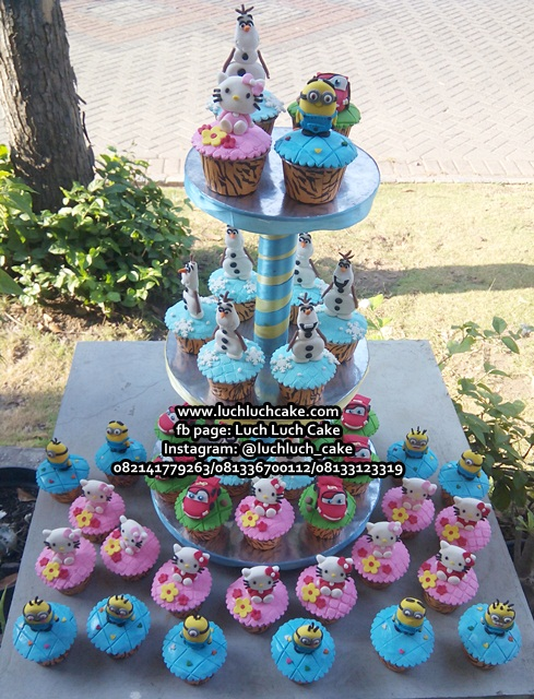 Cupcake Kartun Hello Kitty, Minion, Cars Mcqueen dan Olaf