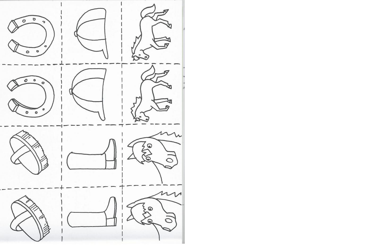 Cavalli da colorare e stampare gratis for Memory da stampare per bambini
