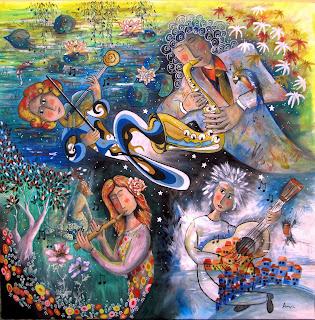 Annapia Sogliani https://www.latelierdannapia.com/ Musica creatrice 90 x 90, chitarrista chitarra flauto sax violino quattro stagioni primavera estate autunno inverno Monet Ninfee surrealismo onirico, Musique créatrice, guitare flûte sax violon quatre saisons printemps été automne hiver nymphéas monet surrealisme onirique Didier Delamonica Chagall