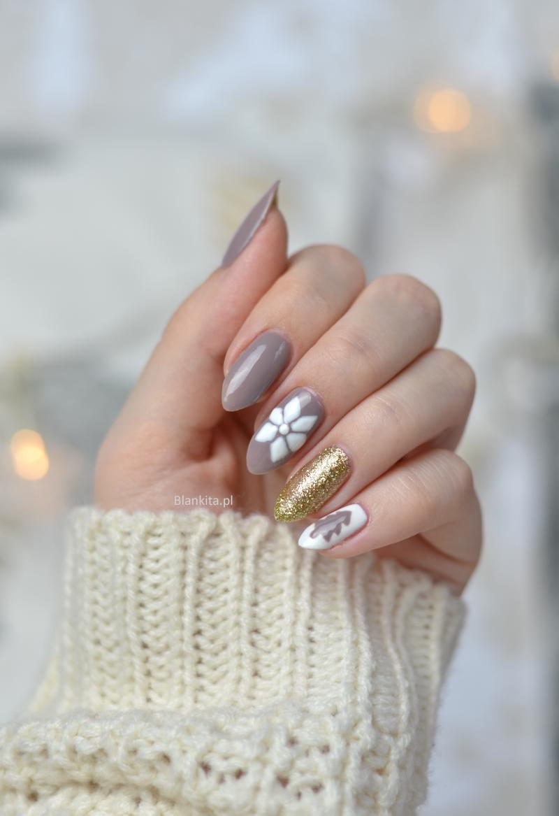 szary lakier hybrydowy, semilac gold disco, szare paznokcie, świąteczne paznokcie, paznokcie na święta
