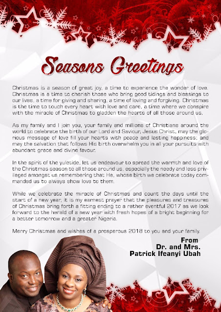 Season's Greetings from Dr. and Mrs. Patrick Ifeanyi Ubah and family.