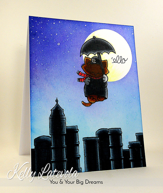 Mary Poppins Kitty Card by Kelly Latevola | Newton Dreams of London stamp set by Newton's Nook Designs #newtonsnook #london