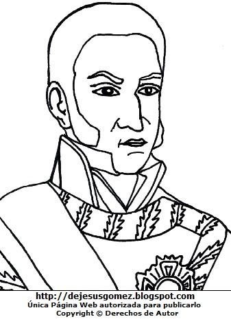 Dibujo del Virrey José de la Serna para colorear para niños. Ilustración del Virrey de la Serna de Jesus Gómez