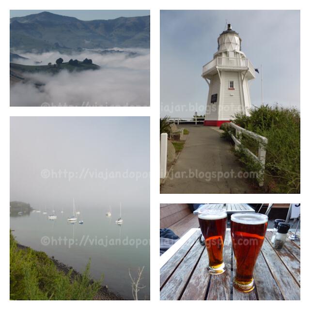 Niebla en el valle, faro y bahía de akaroa. Cervezas en Twizel